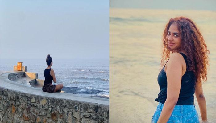 മുംബൈയിലെ ബാന്ദ്ര തീരത്ത് ധ്യാനനിമഗ്നയായി  പൂര്ണിമ ഇന്ദ്രജിത്ത്; ചിത്രം പകർത്തി റിമ കല്ലിങ്കൽ
